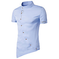 cheap -Men's Chinoiserie Cotton Slim Shirt - Solid Colored Basic Standing Collar Navy Blue L / Short Sleeve / Summer