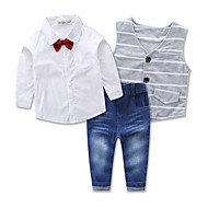 Toddler Boys' Stripes / Dresswear Party / Daily / Formal Solid Colored / Striped Long Sleeve Regular Regular Cotton Clothing Set Gray
