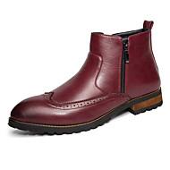 Herre sko Lær Vår Høst Vinter Komfort Støvler Til Avslappet Svart Brun Rød