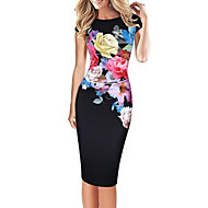 cheap -Women's Party Daily Street chic Bodycon Knee-length Dress Print Round Neck Short Sleeves