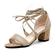 Žene Cipele Flis Proljeće Ljeto Remen oko gležnja Sandale Kockasta potpetica Blok pete Okrugli Toe Vezanje za Kauzalni Ured i karijera
