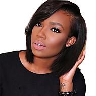 Ženy Paruky z přírodních vlasů Přírodní vlasy Se síťovanou přední částí Krajka vpředu 130% Hustota Rovné Paruka Černá Krátký Střední 100%