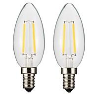 2W E14 E12 フィラメントタイプLED電球 CA35 2 LEDの COB 調光可能 温白色 150-200lm 2700-3500K 交流220から240 AC 110-130V