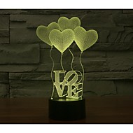 Valentinsdag fire kærlighed 3d lys farverige præg visuel tredimensionelle energibesparende gradient lampe