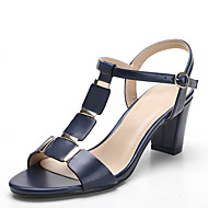 cheap Extended-Size Shoes-Women's Shoes PU Spring Summer Toe Ring Sandals Chunky Heel Round Toe Rivet for Casual Office & Career Dress White Black Almond Royal Blue