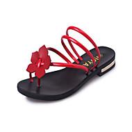 baratos Sapatos Femininos-Mulheres Sapatos Courino Verão MaryJane Chinelos e flip-flops Caminhada Salto Baixo Ponta Redonda Flor Prata / Vermelho / Verde