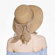 Χαμηλού Κόστους Αξεσουάρ-Γυναικεία Μονόχρωμο Βίντατζ Χαριτωμένο Ψάθινο καπέλο Καπέλο ηλίου
