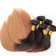 4Lot/pcs 12-26 inch Ombre Brazilian Virgin Hair Straight Color 1b/27 Straight Hair Weaving