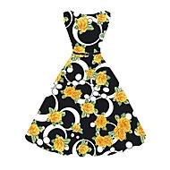 Feminino Bainha balanço Vestido,Casual Festa/Coquetel Vintage Moda de Rua Estampado Decote Redondo Altura dos Joelhos Sem MangaRaiom