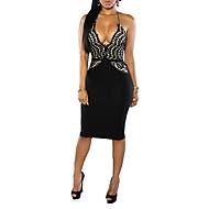 Women's Club Bodycon Dress - Solid Colored Black Strap
