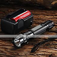 UltraFire LED懐中電灯 LED 1200 lm 5 モード Cree XM-L U2 バッテリー&チャージャー付き 焦点調整可 キャンプ/ハイキング/ケイビング 日常使用 サイクリング 旅行 ワーキング 登山 ブラック