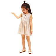 Menina de Vestido Casual Cor Única Verão Algodão Linho Sem Manga