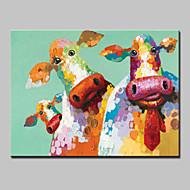 מצויר ביד בעלי חיים Pop מאוזן,מודרני סגנון ארופאי פנל אחד בד ציור שמן צבוע-Hang For קישוט הבית