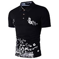 Men's Street chic / Sophisticated Cotton Polo Print Shirt Collar Black L / Short Sleeve