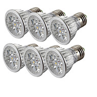 halpa -6kpl 4W 360lm E26 / E27 LED-kohdevalaisimet 4 LED-helmet Teho-LED Kylmä valkoinen 85-265V
