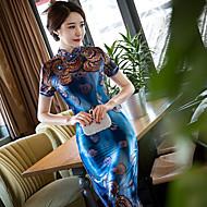 Feminino Tubinho Bainha Vestido,Festa Para Noite Tamanhos Grandes Bordado Colarinho Chinês Longo Manga Curta Raiom Poliéster Primavera