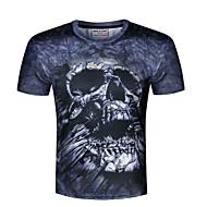 Kortærmet Rund hals Solid Herrer Trykt mønster Sommer Simpel Afslappet/Hverdag T-shirt,Polyester