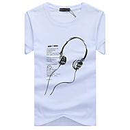 Rund hals Tynd Herre - Geometrisk Bomuld, Trykt mønster Basale Sport Plusstørrelser T-shirt / Kortærmet