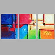 baratos -Pintados à mão Abstrato Vertical,Moderno 3 Painéis Tela Pintura a Óleo For Decoração para casa