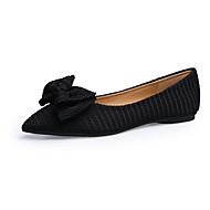 hesapli -Kadın Ayakkabı Tüylü Bahar Sonbahar Rahat Düz Ayakkabılar Düz Topuk Sivri Uçlu Fiyonk Uyumluluk Elbise Siyah Gri Pembe