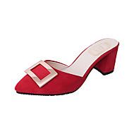Dames Sandalen Comfortabel PU Lente Comfortabel Blokhak Zwart Leger Groen Rood Lichtbruin 10 - 12 cm