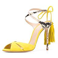 נשים-סנדלים-עור כבשים-נוחות חדשני נעלי מועדון-שחור צהוב כחול-חתונה שטח מסיבה וערב שמלה יומיומי-עקב סטילטו