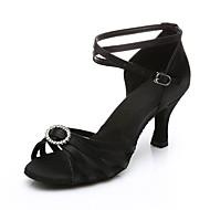 "Women's Salsa Fabric Sandal Heel Performance Applique Buckle Cuban Heel Black Brown 2"" - 2 3/4"" Customizable"