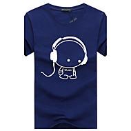 Masculino Camiseta Casual Tamanhos Grandes Simples Verão,Estampado Algodão Decote Redondo Manga Curta Média