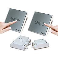 Χαμηλού Κόστους -fyw διπλό έλεγχο τριών συμμοριών αφής τηλεχειριστήριο διακόπτης δεν χρειάζεται να κοπεί καλωδίωση τοίχο μπορεί να επικολληθεί σε