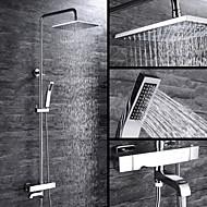 tanie Baterie prysznicowe-Współczesny Umieszczona centralnie Termostatyczny Zawór ceramiczny Dwa uchwyty trzy otwory Chrom, Bateria Prysznicowa