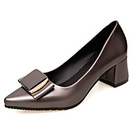 cheap Women's Heels-Women's Shoes PU Spring Fall Comfort Heels Walking Shoes Chunky Heel Pointed Toe Hollow-out for Casual Black Dark Grey Red