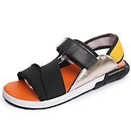 メンズ-カジュアル-繊維-フラットヒール-コンフォートシューズ-サンダル-ブラック オレンジ スクリーンカラー