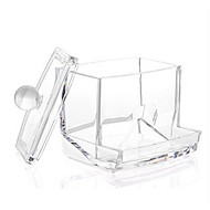 Acrylic Clear Cotton Pads Swab Container Box Makeup Cosmetics Storage Drawer Holder Organizer