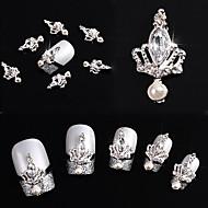 10 stk. 3d krone bue slips krystal rhinestone legering søm kunst glitters diy dekoration (sølv krone)