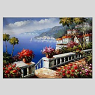 baratos -Pintados à mão Paisagem Horizontal Panorâmica,Moderno Clássico 1 Painel Tela Pintura a Óleo For Decoração para casa