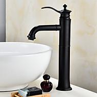 halpa -Nykyaikainen Integroitu Laajallle ulottuva Keraaminen venttiili Yksi kahva yksi reikä Öljytty pronssi , Kylpyhuone Sink hana