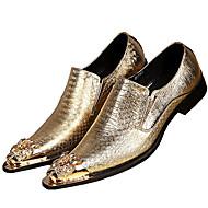 baratos Sapatos de Tamanho Pequeno-Homens Sapatos formais Pele Napa Primavera / Outono Oxfords Dourado / Prata / Festas & Noite / Sapatas de novidade