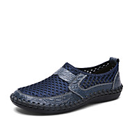 Men's Loafers & Slip-Ons Summer Fall Comfort Cowhide Tulle Outdoor Athletic Casual Flat Heel Split Joint Blue Green Brown Black