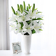 1 gren silke liljer bordplate blomst kunstige blomster hjemme dekorasjon