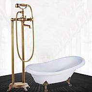 זול ברזים למקלחת-ברז למקלחת - עתיקה נחושת עתיקה סט מרכזי שסתום קרמי