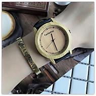 billige Quartz-Dame Quartz Armbåndsur Kinesisk Af Træ / Sej Læder Bånd Afslappet / Træ Sort / Brun / Kaki
