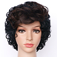 24cm Capless Wig Ombre Black and Brown Curly Fashion Synthetic Wigs For Women Costume Wig Synthetic Wigs
