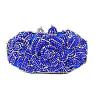 baratos Clutches & Bolsas de Noite-Mulheres Bolsas PU / Metal Bolsa de Mão Cristal / Strass / Flor Preto / Vermelho / Rosa / Rhinestone Crystal Evening Bags