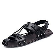 Men's Shoes PU Summer Comfort Light Soles Sandals For Casual Black Brown