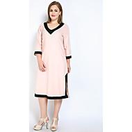 Žene Veći konfekcijski brojevi Širok kroj Shift Majica Haljina - S izrezom, Color block V izrez