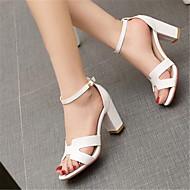 Feminino Sapatos Pele Verão Conforto Sandálias Salto Grosso Para Casual Branco Preto