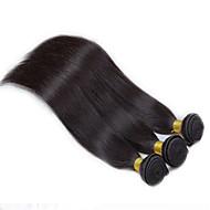 Cabelo Humano Cabelo Peruviano Cabelo Humano Ondulado Liso Extensões de cabelo 3 Peças Preto