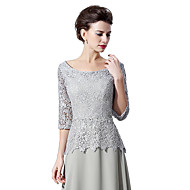 Sheath / Column Scalloped Sweep / Brush Train Chiffon Lace Formal Evening Dress with Lace by Sarahbridal