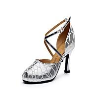 """billige Moderne sko-Dame Latin Lær Høye hæler Innendørs Spenne Kubansk hæl Sølv 2 """"- 2 3/4"""" Kan ikke spesialtilpasses"""