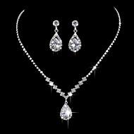 Žene Ogrlice s privjeskom Zircon Glina Osnovni Pink Ogrlice Jewelry Za Vjenčanje Party godišnjica Poslovanje Angažman Dnevno / Voljeni